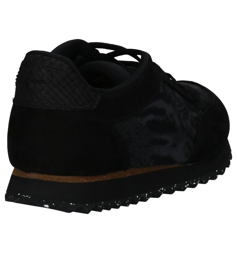 Woden Nynne Jacquard Zwarte Sneakers in daim (254203)