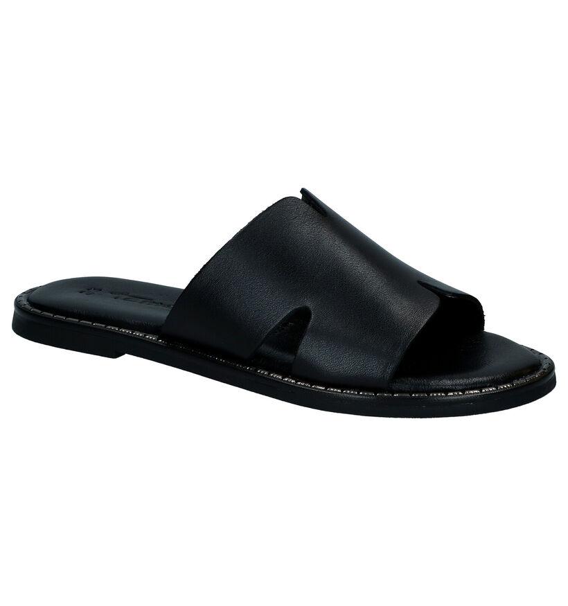 Tamaris Zwarte Slippers in leer (289390)