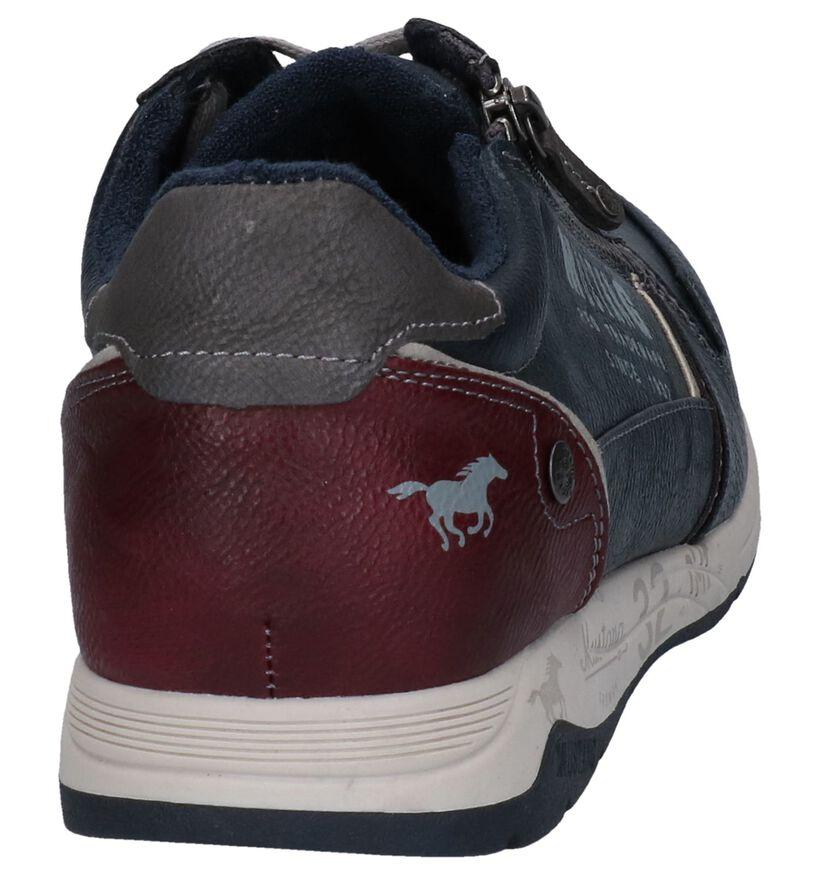 Mustang Blauwe Veterschoenen in kunstleer (277292)
