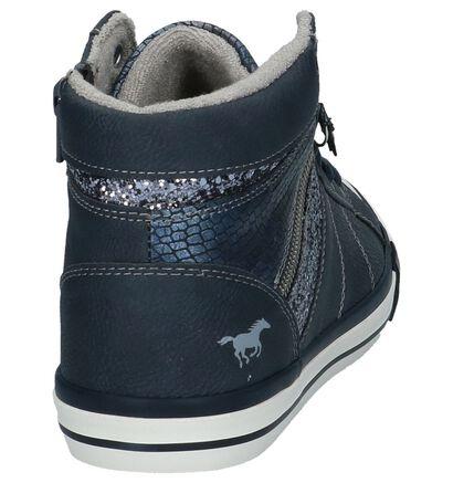Mustang Baskets hautes en Bleu foncé en imitation cuir (223075)
