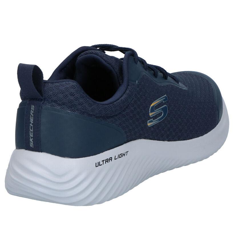 Skechers Memory Foam Baskets en Bleu en textile (272839)