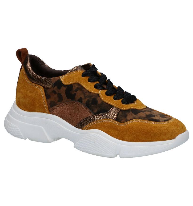 Maripé Gele/Bruine Sneakers in daim (259309)