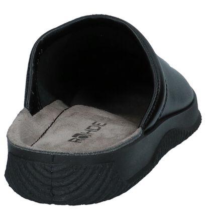 Zwarte Open Pantoffels Rohde in leer (236198)