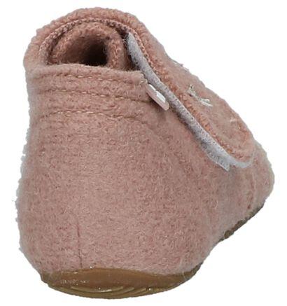 Roze Babypantoffeltjes met Steentjes Living Kitzbühel in wol (235471)