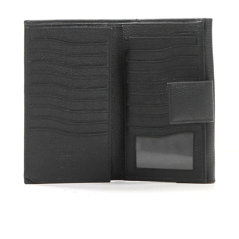 Zwarte Crinkles Overslagportemonnee in leer (237379)