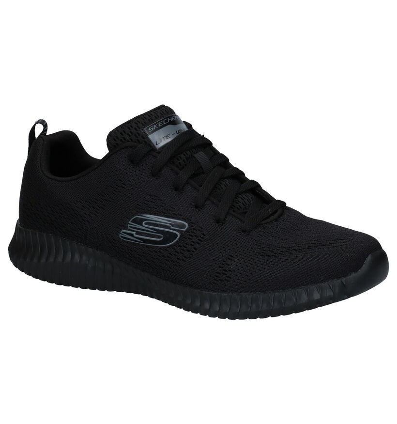 Skechers Elite Flex Clear Leaf Zwarte Sneakers in stof (277907)