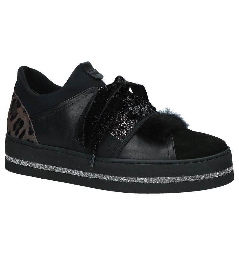 Maripé Zwarte Lage Sneakers in daim (230566)