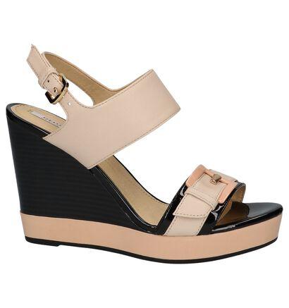 Geox Janira Witte Sandalen met Sleehak, Roze, pdp