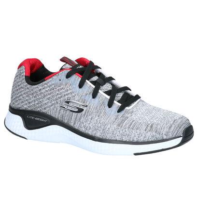 Skechers Solar Fuse Grijze Sneakers in stof (262786)