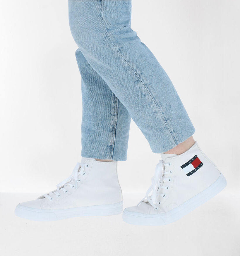 Tommy Hilfiger Mid Cut Lace Up Witte Sneakers in stof (276236)