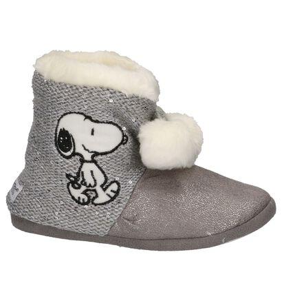 Snoopy Pantoufles fermées en Gris en textile (201600)