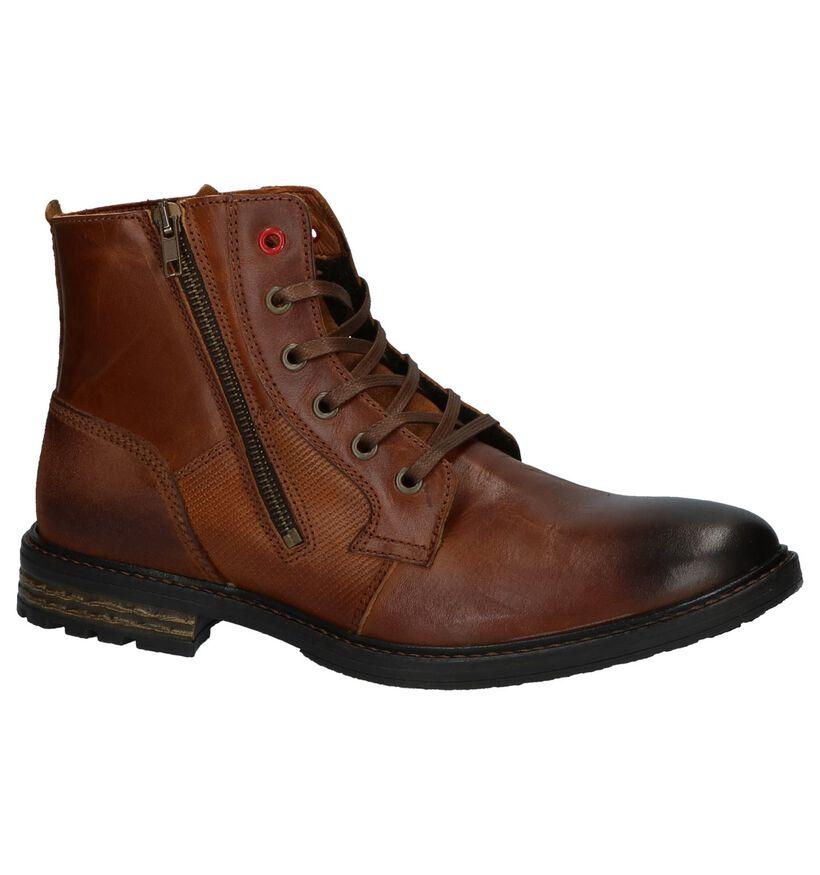 Cognac Boots met Rits/Veter River Woods Kola in leer (231707)