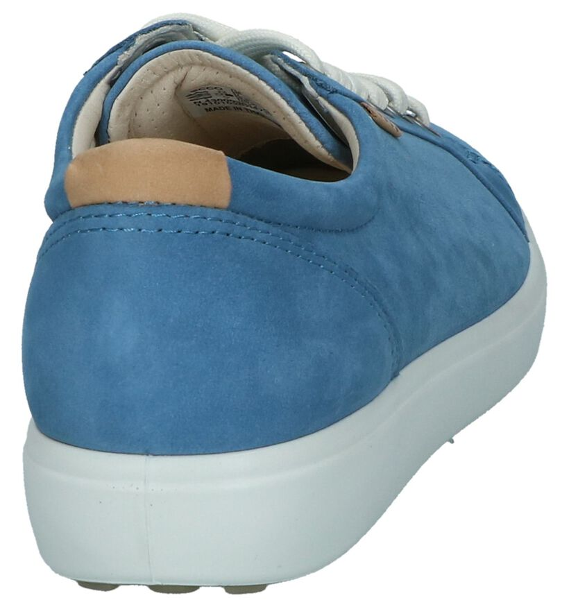 Ecco Soft 7 Blauwe Veterschoenen in daim (270015)