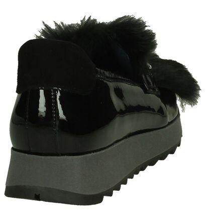 Humat Zwarte Mocassins met Faux Fur in leer (204364)