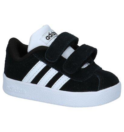 adidas VL Court 2.0 Zwarte Babysneakertjes in daim (221642)