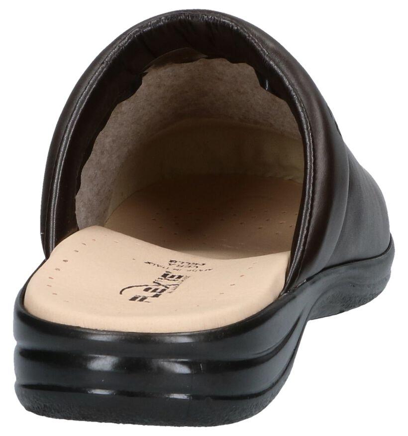 Flexi's Zwarte Pantoffels in leer (119148)