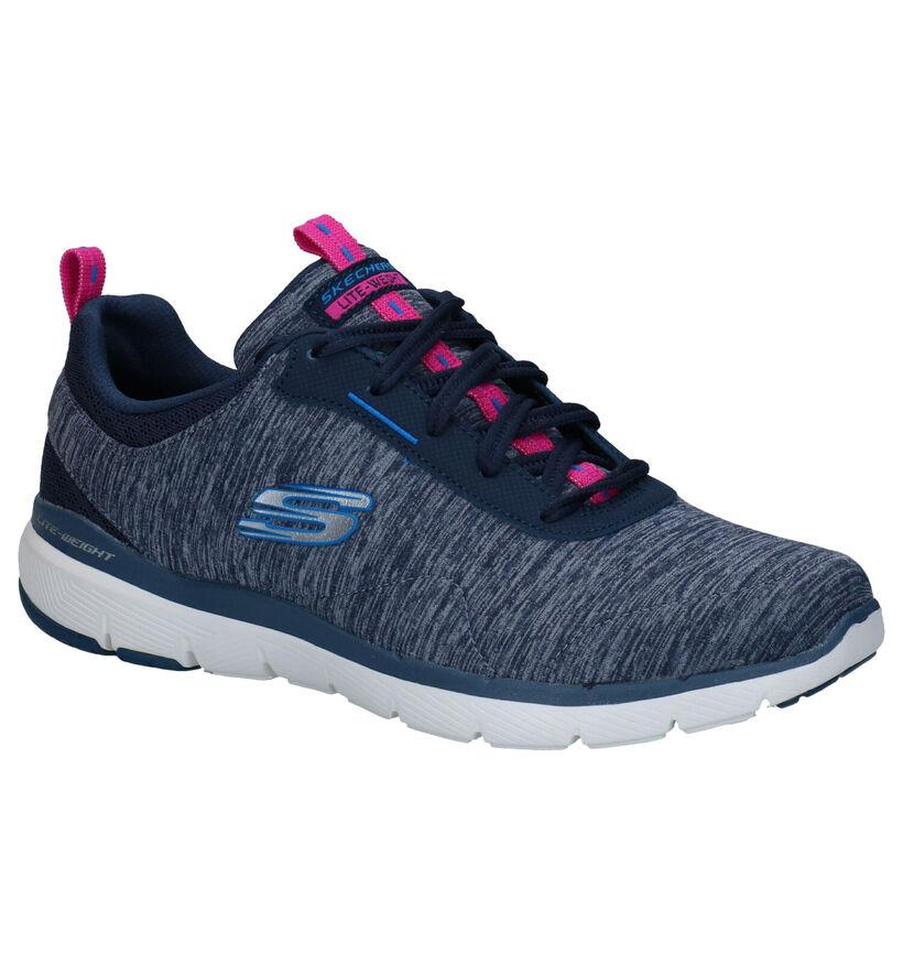 Skechers Flex Appeal Baskets en Bleu en textile (279347)