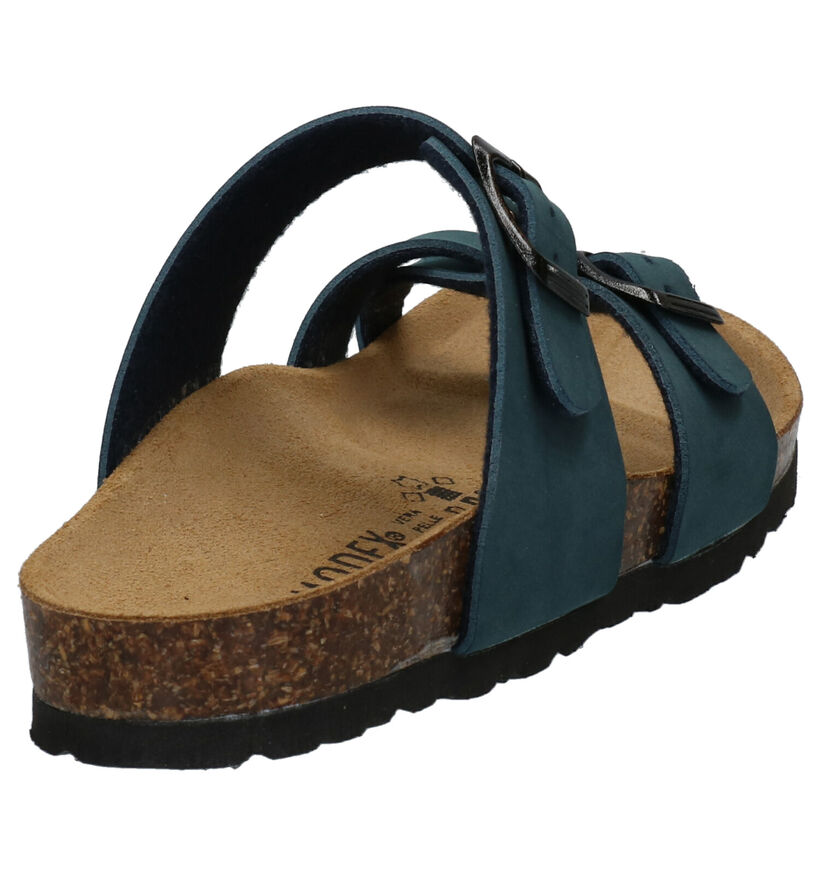 Biomodex Blauwe Teenslippers in kunstleer (273389)