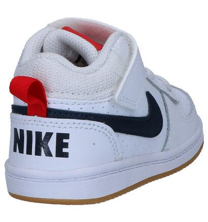 Nike Court Borough Witte Sneakers in imitatieleer (254059)