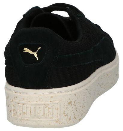 Puma Basket Platform Zwarte Lage Sneakers in stof (199460)