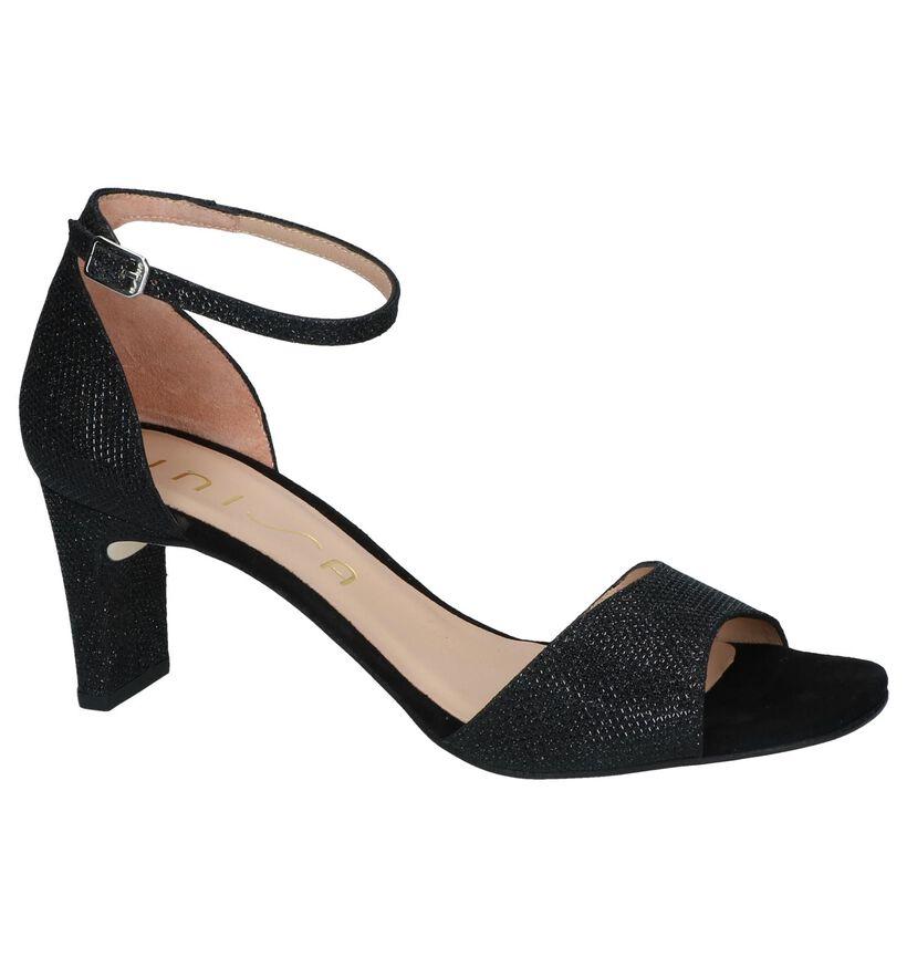 Unisa Sandales à talons en Noir en textile (249273)