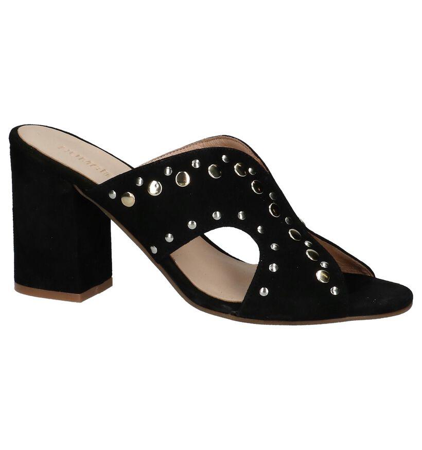Humat Nu-pieds à talons en Noir en nubuck (221380)