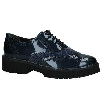 Tamaris Chaussures à lacets en Bleu foncé en cuir verni (226773)