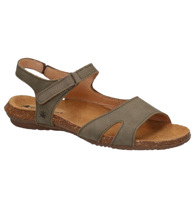 El Naturalista Sandales plates en Vert kaki en cuir (270326)