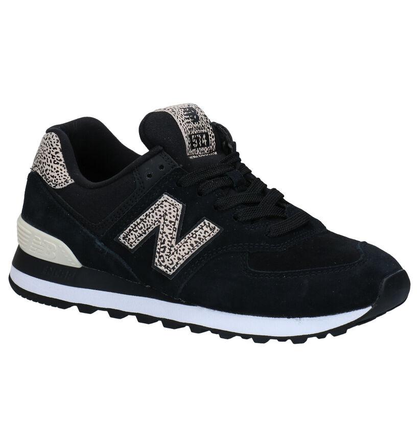 New Balance WL 574 Zwarte Sneakers in nubuck (276949)