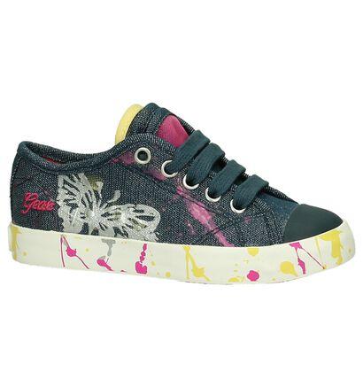 Lage Geox Sneakers Jeans met Verf , Blauw, pdp