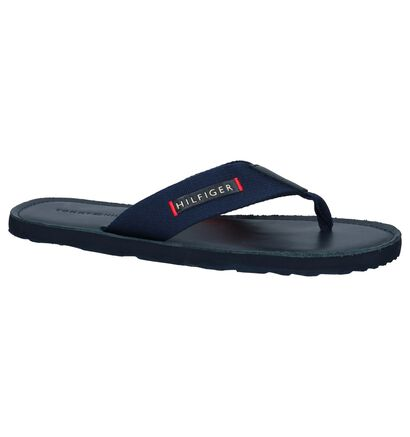 Donkerblauwe Teenslippers Tommy Hilfiger Elevated Leather in stof (242430)