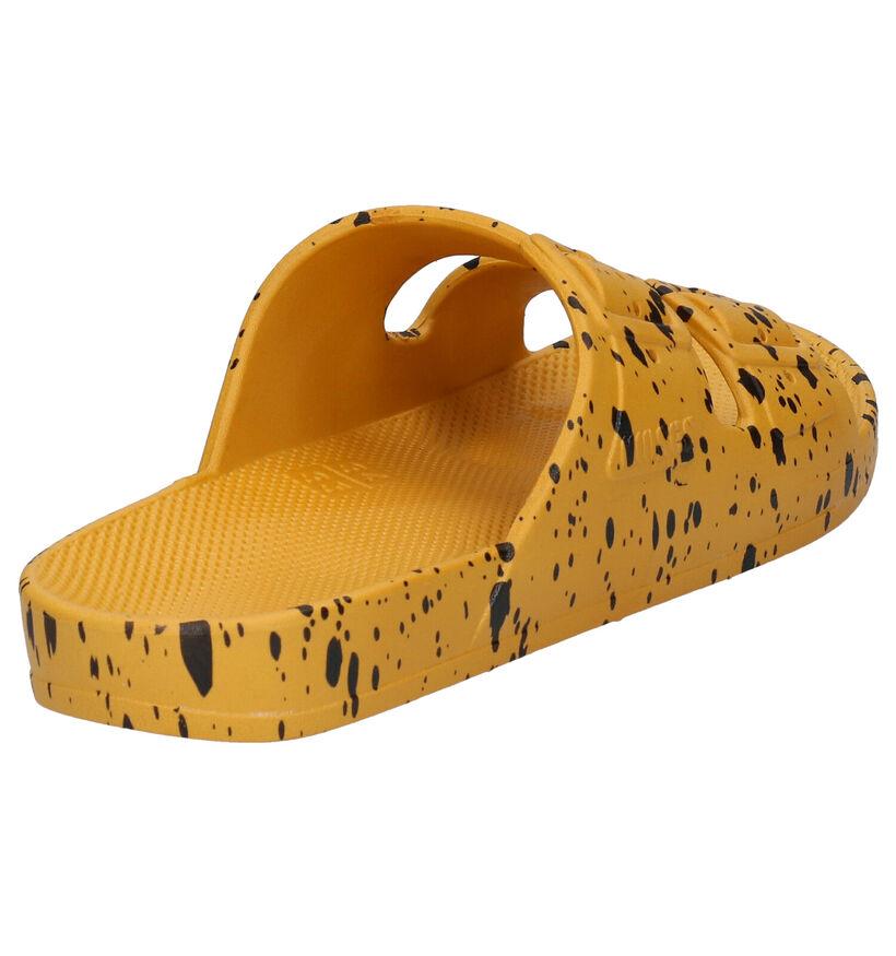 Freedom of Moses Mikado Splatter Gele Slippers in kunststof (284515)