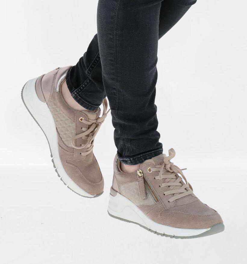 Tamaris Chaussures à lacets en Taupe en textile (286295)