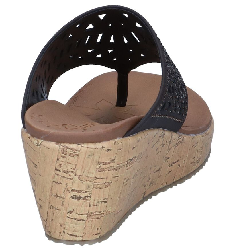 Skechers Nu-pieds à talons en Brun foncé en simili cuir (251836)