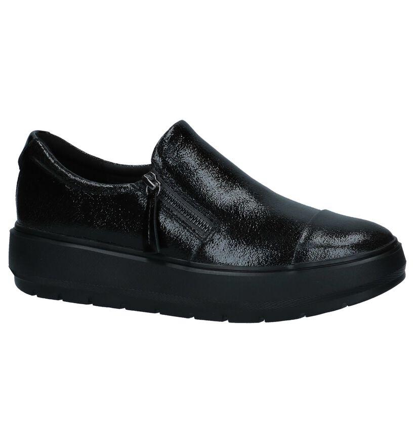 Geox Chaussures slip-on en Noir en cuir verni (223029)