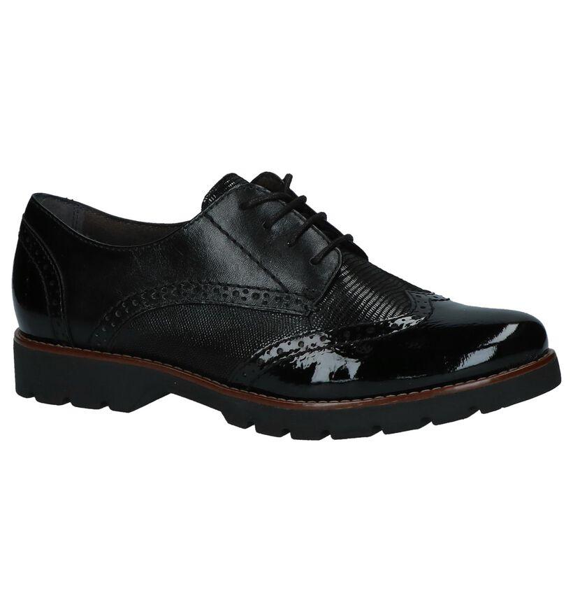 Jana Chaussures à lacets en Noir en cuir (257529)