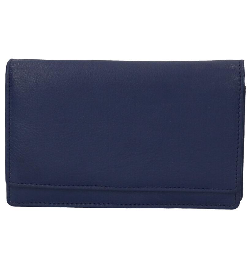 Euro-Leather Porte-monnaies à rabat en Bleu foncé en cuir (275639)