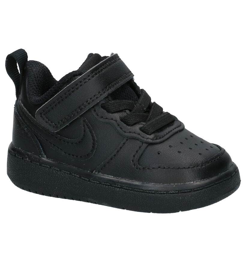 Nike Court Borough Zwarte Sneakers in kunstleer (274564)