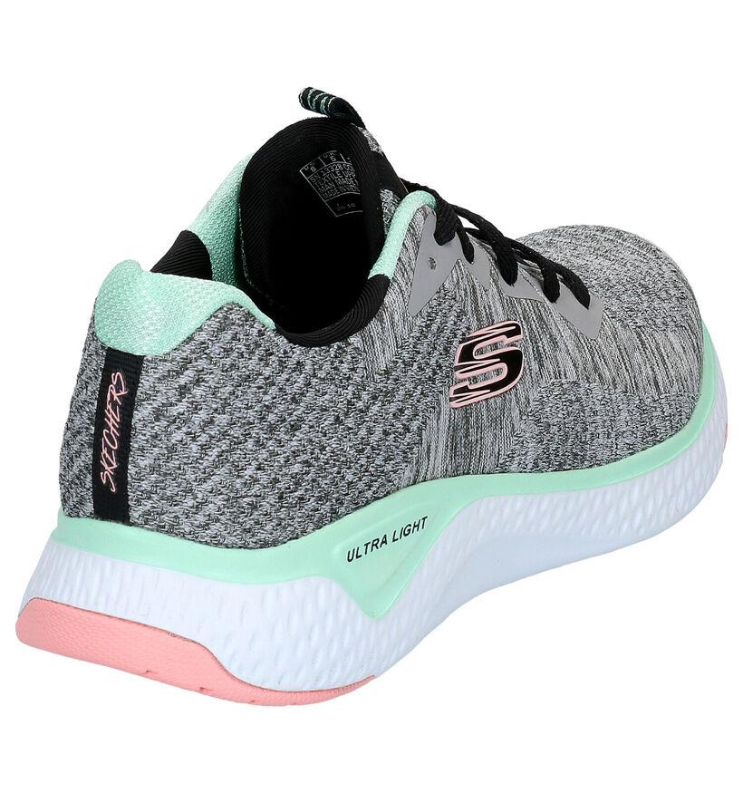 Skechers Solar Fuse Zwarte Sneakers in stof (254210)