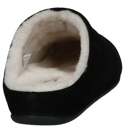 Zwarte Pantoffels FitFlop Chrissie Shearling in daim (225581)