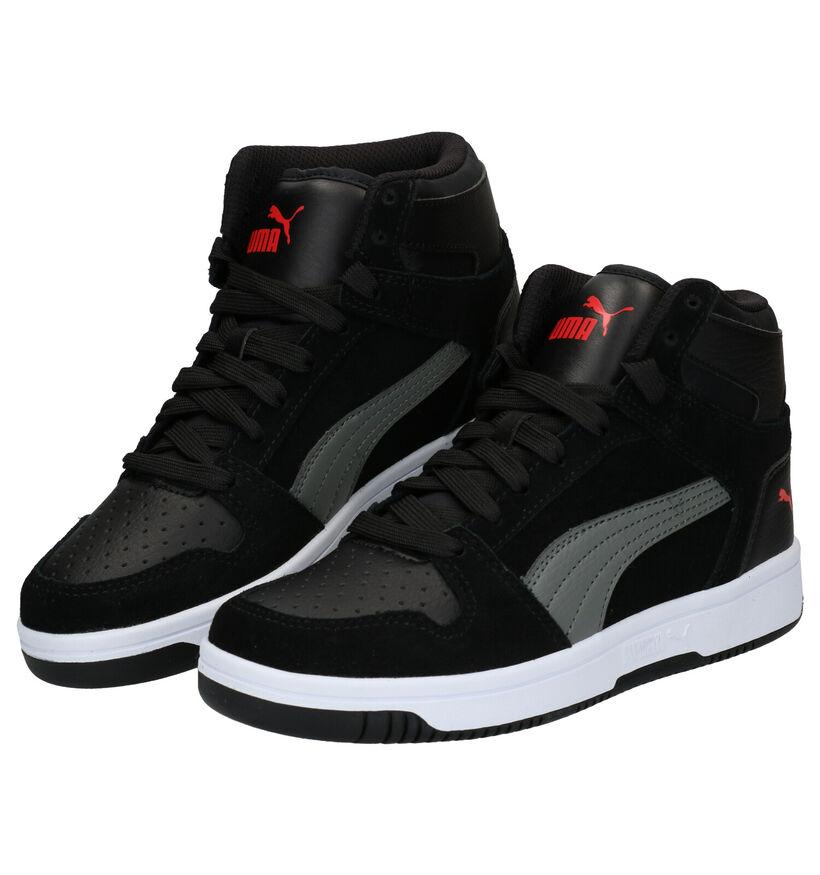 Puma Rebound Layup Zwarte Sneakers in leer (283055)