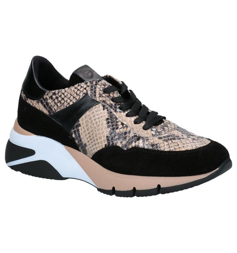 Tamaris Beige/Zwarte Sneakers in leer (275508)