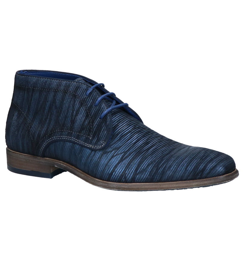 Braend Blauwe Hoge Schoenen in leer (261047)