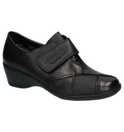 Rieker Zwarte Velcroschoenen in leer (260570)