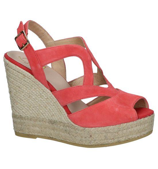 Lichtrode Sandalen met Sleehak Kanna