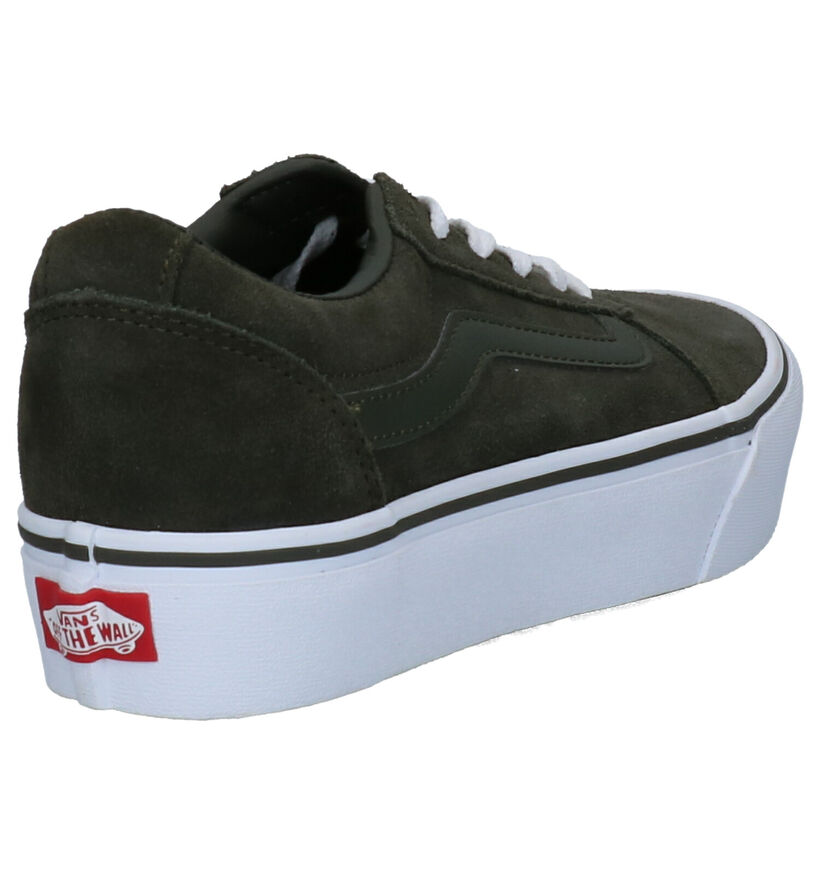 Vans Ward Platform Chaussures de Skate en Kaki en daim (264191)