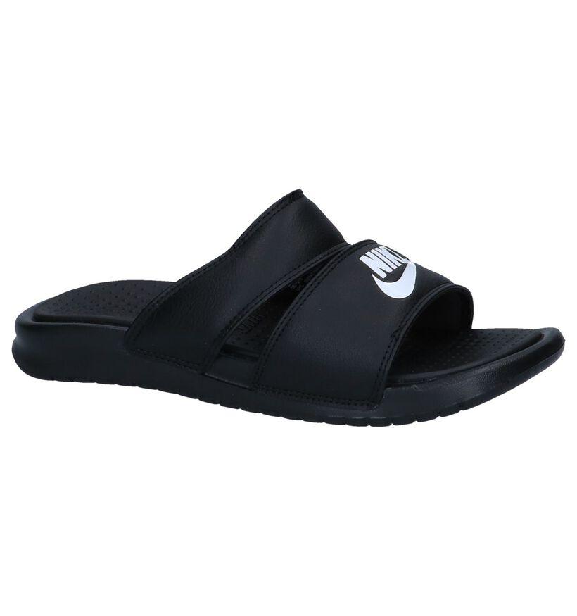 Nike Nu-pieds plates en Noir en simili cuir (238310)