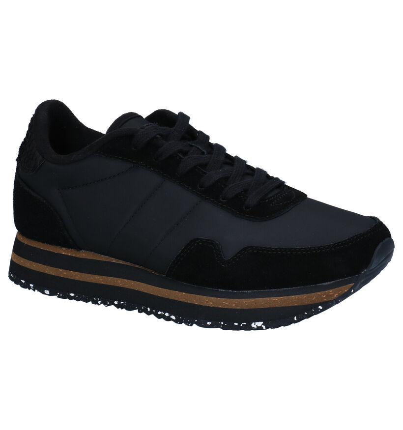 Woden Nora Plateau Zwarte Sneakers in stof (277420)