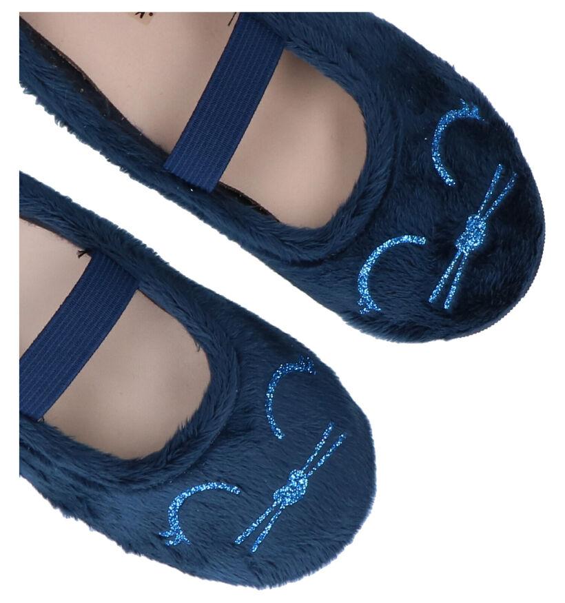 Milo & Mila Pantoufles fermées en Bleu foncé en textile (281580)