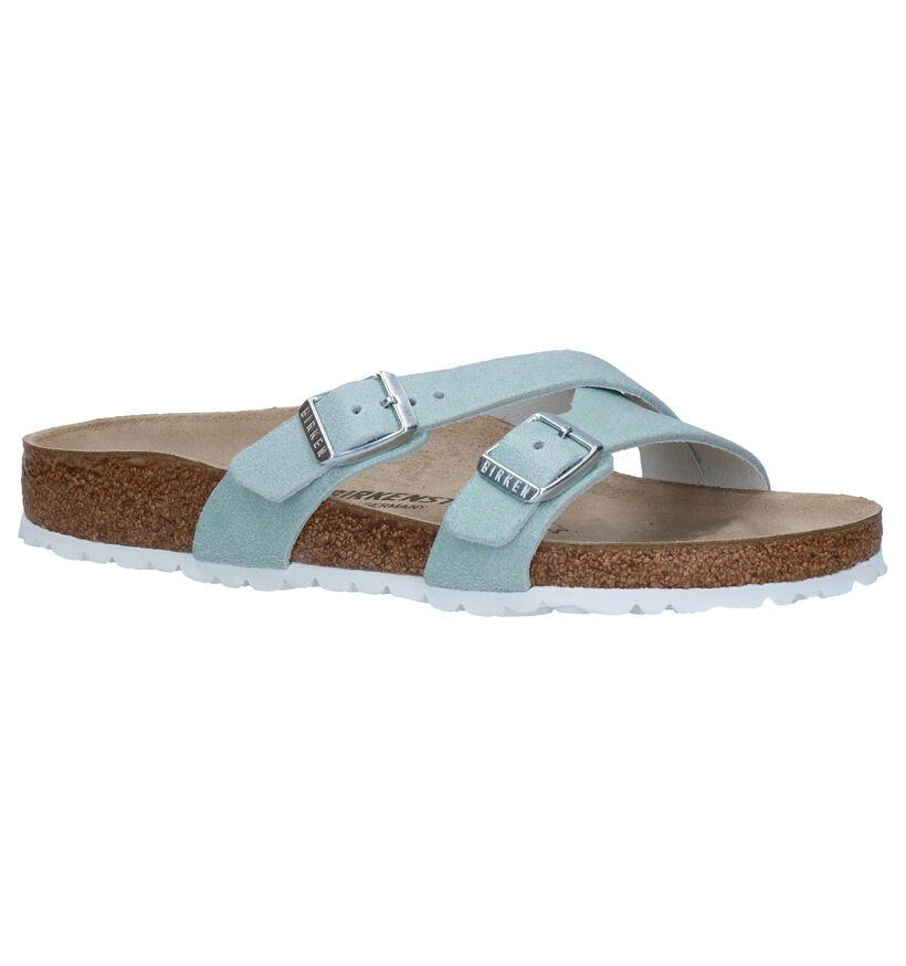 Birkenstock Yao Blauwe Slippers in leer (271246)